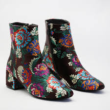 ankle boots uk ebay womens zip up embroidered rounded toe ankle boots in multi