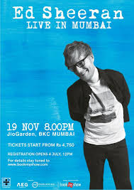 ed sheeran tour 2017 ed sheeran india tour 2017 jio garden mumbai 19 november 2017
