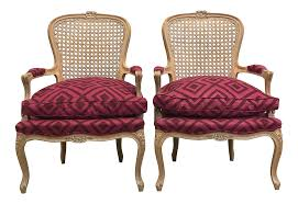 accent chairs pair of pink upholstered cane back accent chairs 0173