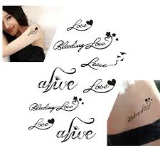 3pcs heart love letters designs women waterproof temporary tattoos
