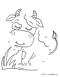 cow dot to dot game coloring pages hellokids com