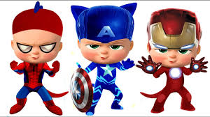 pj masks the boss baby spider man captain america iron man