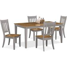 4 Seat Dining Table And Chairs Nantucket Table And 4 X Back Chairs Oak And Gray Value City