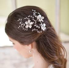 hair pins image of pearl flower and swarovski hairpin hair pins