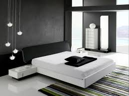 simple minimalist room idea with cushioned black bed frame and