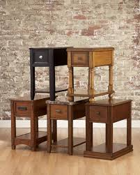 Power Chairside End Table Signature Design By Ashley Breegin Dark Brown Contemporary Carlyle