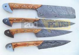 kitchen knives set custom handmade twist damascus steel kitchen knives set