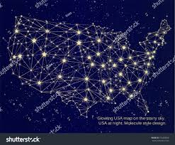 World Map At Night by Glowing Usa Map On Starry Sky Stock Vector 274459829 Shutterstock