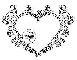 valentines heart coloring page for kids for girls coloring pages