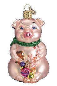 world ornaments lester the pig glass ornament 12012