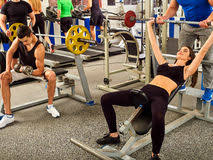 Bench Press Heavy Fitness Friends Workout Gym Woman Working On Bench Press Stock