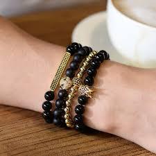luxury bead bracelet images Bojiu 8mm bead bracelet men luxury crown cz zirconia black ag jpg
