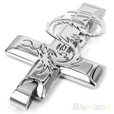 dragon cross necklace images Men 39 s silver stainless steel dragon cross necklace pendant the jpg