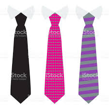 pink flat color vector neck ties set with trendy solid flat color style stock