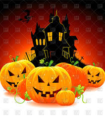 halloween free vector background halloween pumpkins and the silhouette of cartoon house vector