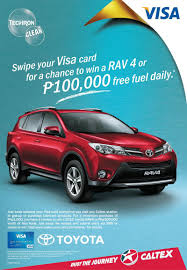 ww toyota motors com swipe to drive a new toyota rav4 in caltex visa promo philippine
