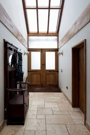 entrance timber front door vaulted ceiling high ceiling
