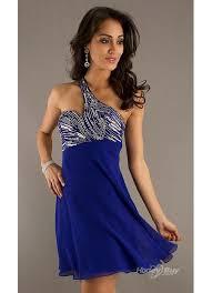 fashion royal blue cocktail dresses one shoulder embellishment