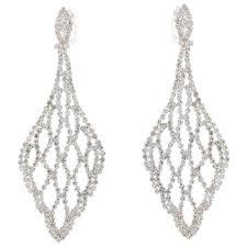 clip on earrings uk diamante chandelier bridal drop clip on earrings
