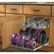 kitchen cabinet storage solutions lowes rev a shelf 20 75 in w x 18 13 in 2 tier metal cabinet organizer