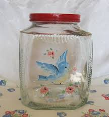 vintage glass canisters kitchen vintage glass cookie or cracker canister jar lid painted