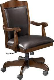wood arm swivel office chair