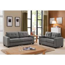 Sofa And Furniture Tanya Modern 2 Piece Grey Tufted Sofa And Loveseat Set S5092 2pc