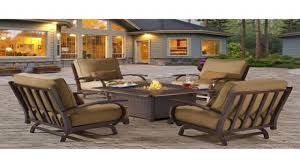 Patio Furniture Sets With Fire Pit by Furniture Propane Fire Table Fire Pit Tables Costco Lawn Chairs