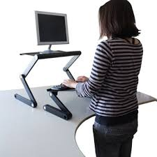 workez standing desk laptop monitor stand plus keyboard tray