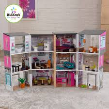 modern dollhouse kitchen kidkraft contemporary deluxe wooden townhouse with 24 pieces of