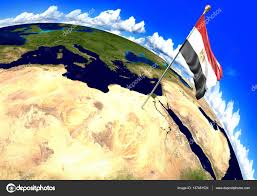 Egypt On World Map Egypt National Flag Marking The Country Location On World Map 3d