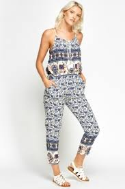 casual jumpsuit mixed print casual jumpsuit just 5