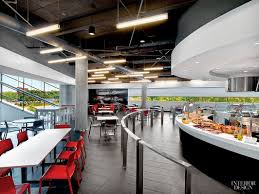 office canteen design sculpture in motion porsche experience center by hok spaces