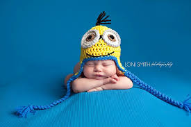 Minion Baby Halloween Costume Love Baby Minion Ear Flaps Hat Crochet Newborn Nb