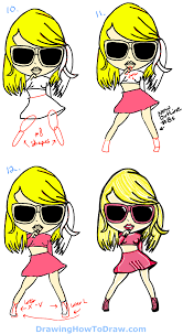 how to draw taylor swift as cute cartoon chibi drawing tutorial