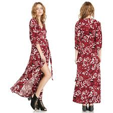 high waist women chiffon kimono dress autumn new elegant flower