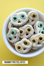 halloween pretzel mummy pretzel bites fork and beans