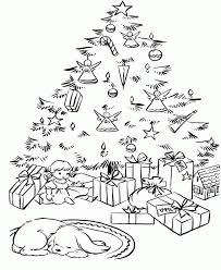 coloring page of christmas tree with presents christmas presents pictures coloring home