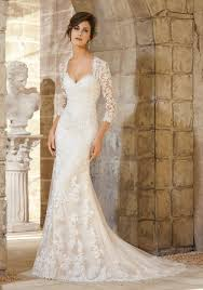 venice lace and embroidered appliques on net over soft satin with
