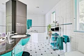 blue bathroom decorating ideas teal blue bathroom decor white wooden cabinet embedded in the wall