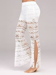 side slit see thru lace pants white l in pants dresslily com