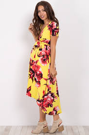 nursing dress yellow floral hi low midi maternity nursing dress