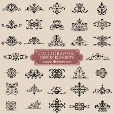 calligraphy retro swirl ornaments vector free