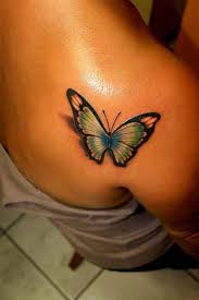 popular 3d butterfly on back shoulder tattooshunter com