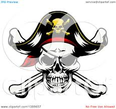 clipart of a pirate skull and crossbones wearing a patch and captain