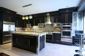 interior contemporary black finish kitchen island with eased edge