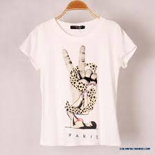 cheap women breathable cotton t shirt printed elastic cotton round