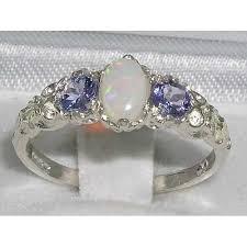 natural tanzanite rings images 925 sterling silver natural opal and tanzanite womens jpg