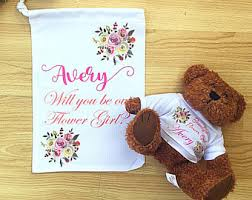 flower girl teddy gift flower girl etsy