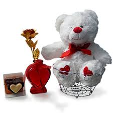 teddy valentines day valentines day gift set basket for gold foil heart
